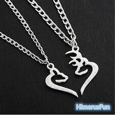 Lovers Silver Necklaces Half Heart Shape Chain Pendant Valentine's Day Gift New