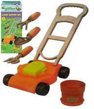 CHILDRENS KIDS PLAY AT GARDENING - LAWN MOWER FORK TROWEL RAKE PLANT POT TY6954