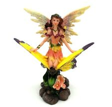 Fairy in Pink Dress Riding Butterfly Statue Figurine Mythical Fantasy C