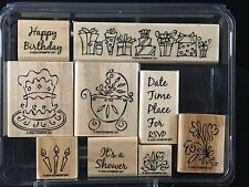 Stampin' Up Something To Celebrate 9 Wood Mounted Rubber Stamps 2004 Retired