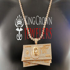 XXL BIG CUSTOM PENDANT ROSE GOLD LAB DIAMOND CASH $100 BILLS MONEY+ FLOWER CHAIN