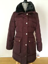 $300 MICHAEL KORS Burgundy Quilted Puffer Down  Hooded Winter Jacket Coat size M