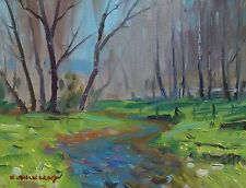 KYLE BUCKLAND CREEK TREES STREAM SPRING ART IMPRESSIONISM DAILY oil PAINTING