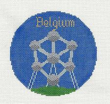 *2016* Silver Needle  BELGIUM  Country handpainted Needlepoint Canvas Ornament