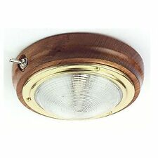 146mm Teak Boat Cabin Interior Switched Light with Brass Trim