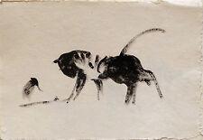 KATZE und VOGEL Aquarel Papier Original-Malerei direkt vom Kunstler Zeichnung