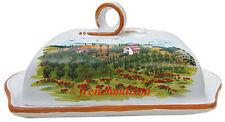 Italian-Made Art BUTTER DISH Handmade Handpainted Tuscan Country Ceramic New