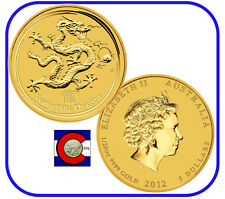 2012 Lunar Dragon 1/20 oz $5 Gold Coin, Series II, Perth Mint in Australia
