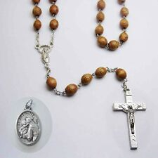 Carved Hardwood Rosary - Made in Italy - Bonus St Anthony Relic Medal