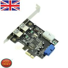New PCI-E Express to USB3.0 Card 2ports+20pin Connector Control Card Adapter