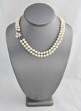 "16"" HAND KNOTTED PEARL ESTATE NECKLACE 14KT WHITE GOLD & DIAMOND FLOWER CLASP"