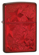 Zippo Windproof Iced Stars Lighter In Candy Apple Red, # 28339, New In Box