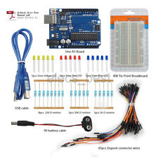 UNO R3 Breadboard Dupont LED 9V Battery Cable Resistor Starter kits for Arduino