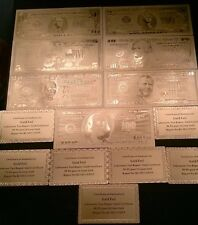 Full set of 24k gold Ghost bills & c.o.a cards $1,$2,$5,$10,$20,$50,$100  #331