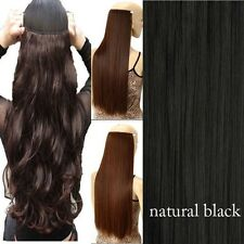 Real Thick as Remy Hair Piece 3/4Full Head Clip In Hair Extensions Straight Wavy