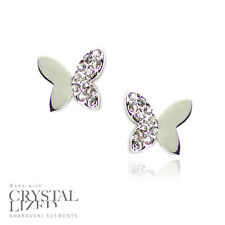 BUTTERFLIES Swarovski Elements Crystal 18-KRGP White Gold Plated Stud Earrings