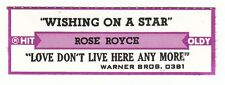 Juke Box Strip ROSE ROYCE - Wishing On a Star / Love Don't Live Here Any More