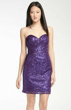 La Femme Sweetheart Neckline Sequin Ruched Cocktail Dress Sz: 2 Purple