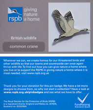 RSPB Pin Badge | Common Crane flying | GNaH backing card [00860]