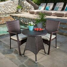 Contemporary Outdoor 3-piece Brown Wicker Bistro Set with Beige Cushions