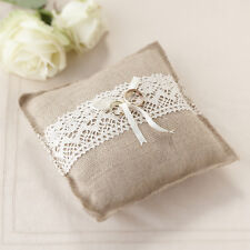 VINTAGE RUSTIC HESSIAN & LACE WEDDING RING CUSHION