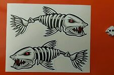 "Angry fish stickers squelette poisson 150mm x 60mm 6"" long fade et imperméable"