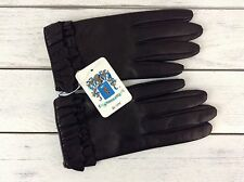 Portolano Womens Gloves Black Napa Leather Ruffled Cuffs 2BF11328 Sz 6.5 Nwt