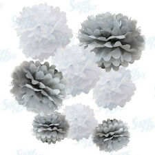 "Paper Tissue Pom Poms Assorted Color Pack 8"" 10"" 12"" 14"" 16"" Decorations Flower"