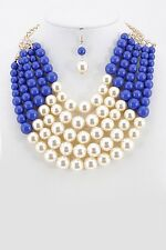 Adjustable 5 Layer Blue and Cream Pearl Necklace with Earrings