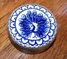 "Trinket Box Small Ornate Metal Round Mirror on Lid 2.25"" x 1"" Blue Peacock"