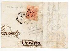 ANTICHI STATI 1858 LOMBARO VENETO 15 C. II° TIPO LETTERA DEL 24/3 D/4571