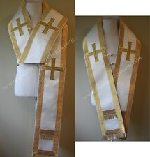 Orthodox Bishop Vestment Omophor Omophorion Small White Gold