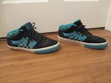 Used Worn Size 11 Vans TNT II Mid Skateboard Shoes Black Blue White