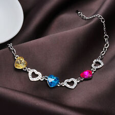 NEW 18K White Gold GP Colorful Faceted Crystal Closer Hearts Bracelet Love Gift