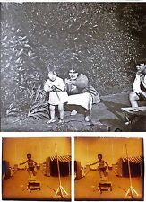 4 photos stereos c. 1920 JEUX D'ENFANTS / stereoview
