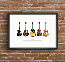 George Harrison's Guitars - ART POSTER A2 size