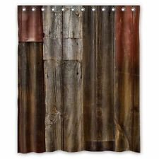 Waterproof 3D Old Wood Rustic Fabric Bath Shower Curtain Bathroom Decor