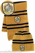 HARRY POTTER Hufflepuff House *LICENSED* HAT & *REAL* WOOL SCARF w/Crest  Beanie