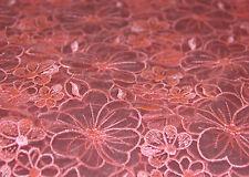 O1 wassermelone/koralle organza Spitze braut 120cm breit verkauft von 0,45m