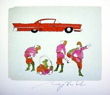 ANDY WARHOL HAND SIGNED SIGNATURE * FOUR MALE COSTUMED *  PRINT  W/ C.O.A.