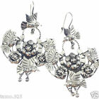 FRIDA KAHLO DESIGN TAXCO MEXICAN STERLING SILVER FLOWER BIRD EARRINGS MEXICO
