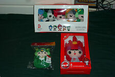 "2008 Beijing Olympics Mascot Souvenir Lot 5pc Plush FOB Boxset 8"" Plush MIB+"