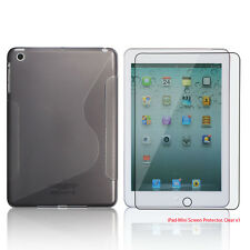Clear Smoke S-Shape TPU Rubber Case+Free Clear Screen Cover for Apple iPad Mini