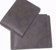 Coach Men's F74993 Compact ID Signature Mahogany Brown PVC Wallet NWT $175