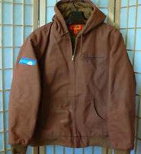 Jacket  With Hood Mens Size 2XL By Corner Stone Port Authority  Brown With Logos