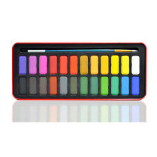 24 Colors Solid Watercolor Pigments Tablet Set With Paintbrush Metal Box Child