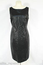 NWT Cache Black Leather Houndstooth Cocktail Dress MRSP $298.00 Sz 10 Suede