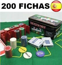JUEGO DE POKER 200 FICHAS CON CAJA + 2 JUEGOS DE BARAJAS + FICHA DEALER + TAPETE