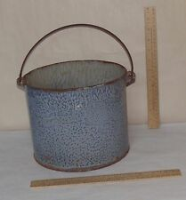 GREY SPECKLE BUCKET - GRAY ENAMEL WARE Straight Side PAIL - No Lid - Small Holes