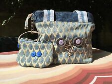 Handbag, Blue, Owl Design, Matching Coin Purse, Homemade.